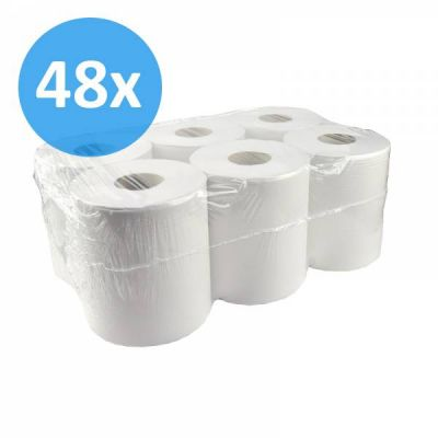PALLET Poetsrollen midi, 300m, 1-laags, recycled tissue wit